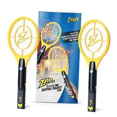 Zap It Bug Zapper Twin-Pack Rechargeable Bug Zapper Racket, 4,000 Mini Yellow