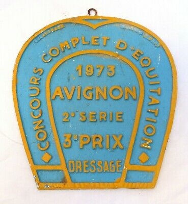 Nice Vintage French Horse Training Show prize award plaque plate AVIGNON 1973