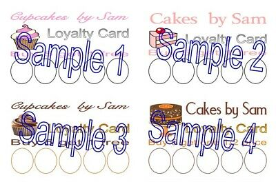 PERSONALISED LOYALTY CARDS 50 DOUGHNUT CAKE SHOP ICE CREAM CUPCAKE PRINTED