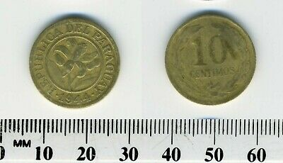 Paraguay 1944 - 10 Centimos Aluminum-Bronze Coin - Orchid within circle