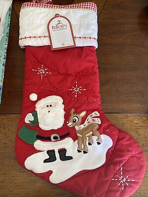 NWT Pottery Barn Kids SANTA WITH RUDOLPH Reindeer Quilted Stocking NO MONOGRAM