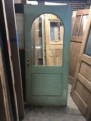 Vintage Cottage door with when cut arched  glass  great pantry door