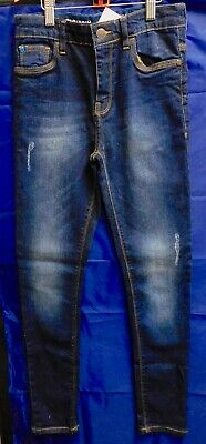Next Boys Blue Wash Super Skinny With Adjustable Waist Denim Jeans