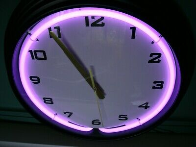 New Neon Ring Clock W/Wall Adapter-Quartz Movement. Neon On/Off Switch on Back