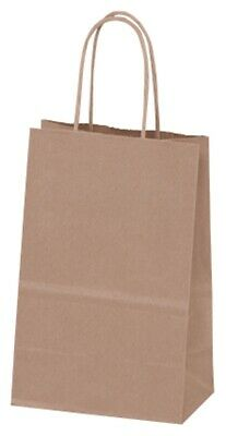 250 Recycled Brown Kraft Paper Bags Shoppers Mini Cub 5 1/4x3 1/2x8 1/4""