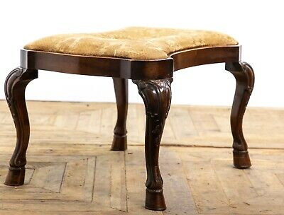 Antique Edwardian Country House Mahogany Stool with Carved Hoof Feet