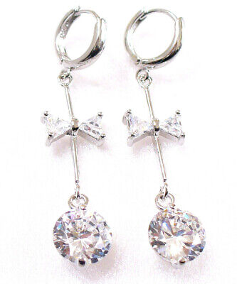 Women Lady Clear Simulated Diamond White Gold Plated 23mm Long Dangle Earring UK