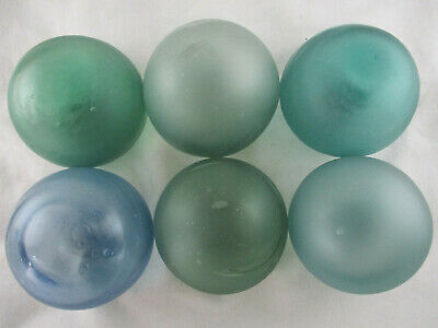 Six Storm Tossed Frosted Japanese Glass Floats Alaska BeachCombed