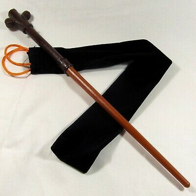 "15"" Hand Carved Gilderoy Mahogany Wood Magic Wizard Wand w/ Free Velvet Bag"
