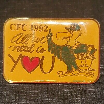 RARE Vintage 1992 CFC All We Need Is You U.S. Mail Lapel Pin, B&K Specialities