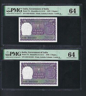 India 2 Notes Consecutive One Rupee 1978 P77v Uncirculated Graded 64