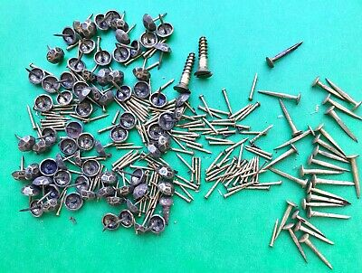 Vintage lot of hammered brass upholstery tacks, large and small brass nails