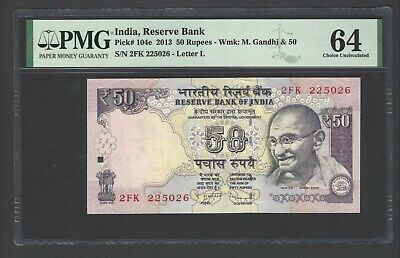 India 50 Rupees 2013 P104e Uncirculated Letter L Graded 64