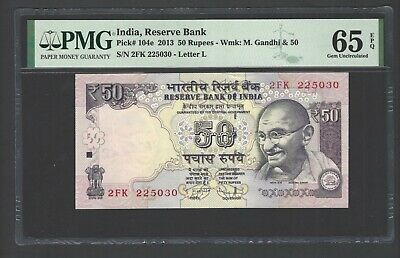 India 50 Rupees 2013 P104e Uncirculated Letter L Graded 65
