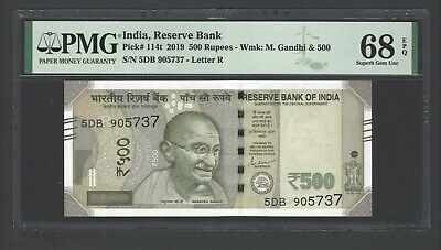India 500 Rupees 2019 P114t  Letter R Uncirculated Graded 68