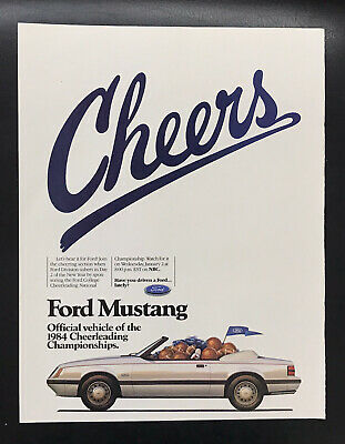 1984 Ford Mustang 5.0 vintage print Ad Cheers Official Vehicle