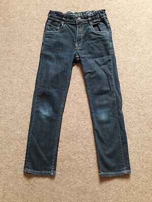 Boys Matalan Slim Leg Jeans Dark Blue Adjustable Waist Age 9 years