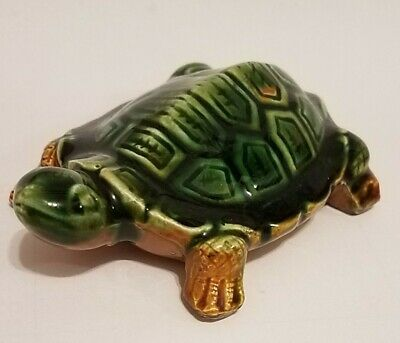 VINTAGE - Ceramic Turtle - Japan - 4 inches long - Green & Tan - High Gloss