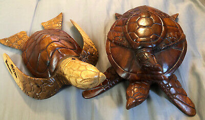 Hand Carved WOODEN TURTLE Set Maui Hawaii