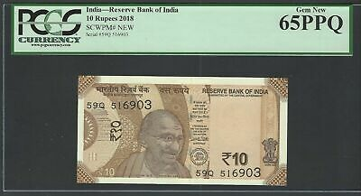 India 10 Rupees 2018 PNew Uncirculated Graded 65