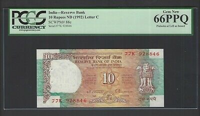 India 10 Rupees ND(1992) P88e Uncirculated Graded 66