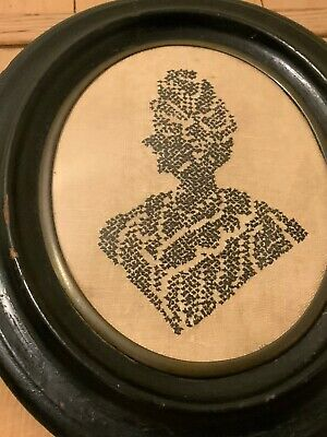 Antique Needlepoint Silhouette Of An African Woman Framed Bowed Glass 12 By 10