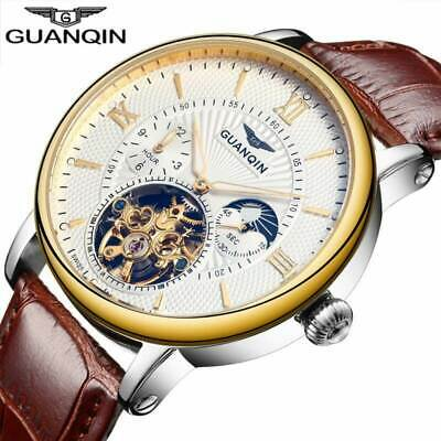 GUANQIN Mens Watches  Leather Tourbillon Automatic Mechanical