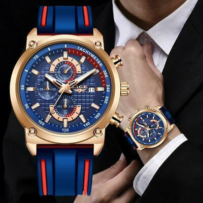 LIGE Mens Watches Luxury Dial Clock Male Fashion Silicone Waterproof