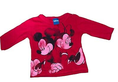 3-6 Months Girls Or Boys Unisex Minnie And Mickey Mouse Long Sleeve Top