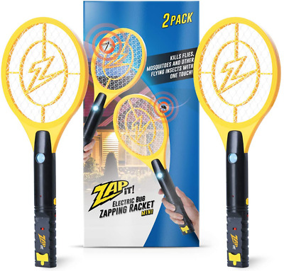 Zap It Bug Zapper Twin-Pack Rechargeable Bug Zapper Racket, 4,000 Volt, USB Char