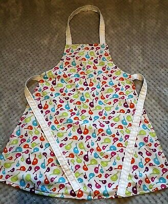 Handmade unique toddler apron ''small bright birds'' 3-6 years approx