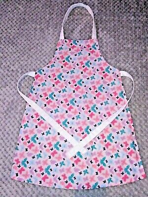 Handmade unique toddler apron ''pink butterflies'' 3-6 years approx