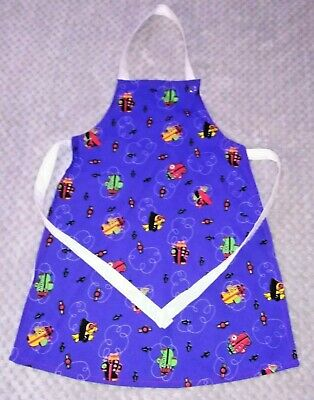Handmade unique toddler apron ''aiplanes on blue '' 3-6 years approx