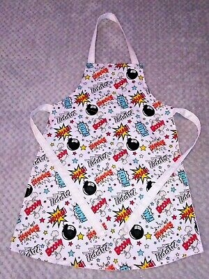 Handmade unique toddler apron ''boom, crash, pow '' 3-6 years approx
