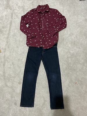 Lovely Boys H&M Adjustable Jeans & M&S Shirt Set Age 7-8 Years