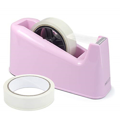 Rapesco 1487 500 Heavy Duty Dispenser and 2 Tape Rolls - Candy Pink