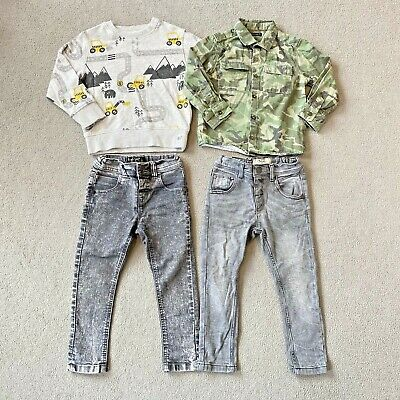 NEXT Boys Bundle Digger Sweatshirt Grey Acid wash Jeans Camo Shirt 2-3 Years