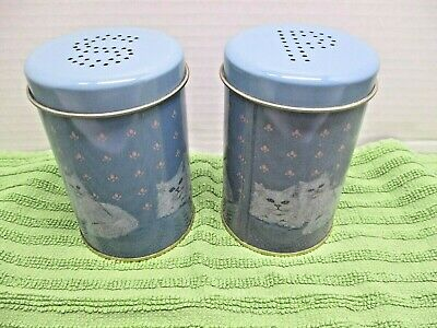 """White Cats on Blue Tin Salt and Pepper Shakers ~ 4"""" x 2 1/2"""" ~ EUC!"""