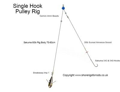 Pulley Pennel Choose Hook Size and Quantity. Hand Tied Sea Fishing Rigs