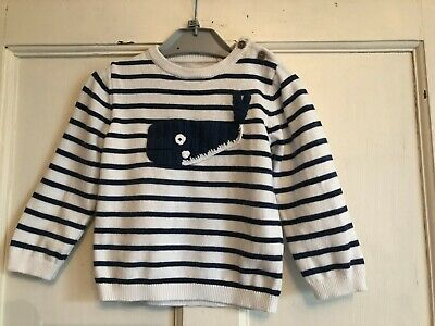 Baby Boys Blue & White Striped Long Sleeved Jumper from TU Age 12-18 months