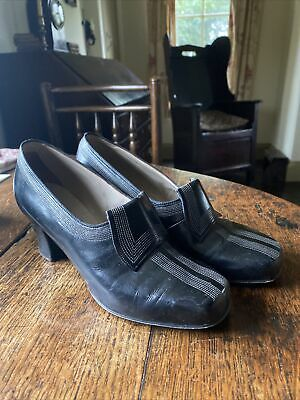 Original 1940s Dolcis Black Leather Forties Shoes Size 5 Wartime