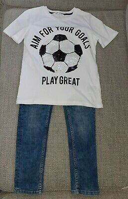Next Boys Skinny Jeans Age 9 Yrs & New H&M Sequin Change T-Shirt Age 9/10 Years