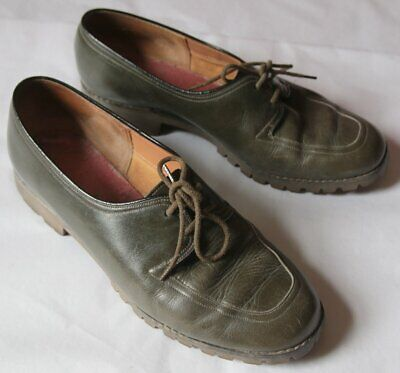 VIntage Green Ladies Shoes 90D Approx Size 7 Vibram Commando Soles