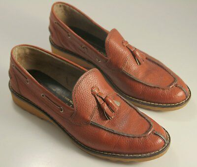 Vintage Dolcis Sports Girl 42 EU Tassel Split Toe Loafer Natural Ripple Sole