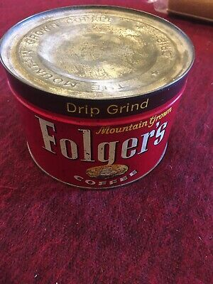 Vintage Folgers Coffee Can Tin Sealed With Key Full 1lb Unopened