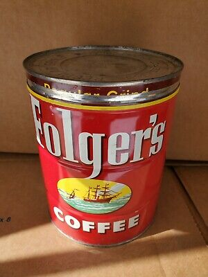 Vintage Folger's Bright Red Ship Graphics 2 Pound Coffee Tin Can