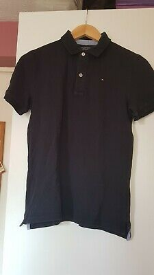 TOMMY HILFIGER BOYS smart blue polo shirt in good condition size 164