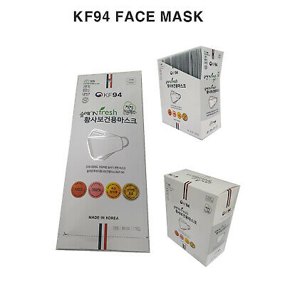 Premium KF94 Face Mask for Adults White Large 50~100 Packs 4Layers Made in Korea