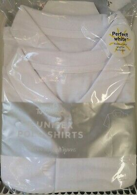 2 Pack White Polo Shirts Age 13