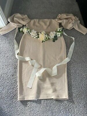 Womans Cream  Baby Shower Dress With Flower Sash Size 14 Special Occasion Must